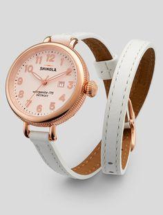Rose gold watch w/ white leather double wrap strap   Shinola