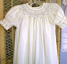 "Hand smocked dress is ""Basic Bishop"" pattern by Chery Williams - Smocking pattern is ""Chelsie"" by Ellen McCarn"
