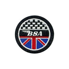 CLASSIC  BSA CHEQUERED/UNION EMBROIDERED PATCH-BANTAM,GOLD STAR