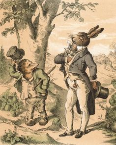 """""""The human psychology in these tales fascinates people,"""" says Daniel. """"There are different sides of good and evil, kind and unkind, beautiful and ugly and every shade in between."""" Here, """"The Hare and the Hedgehog,"""" created in 1855 by German illustrator Gustav Süs, considered to be one of the most important of the 19th century."""