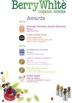 BerryWhite Awards De biologische dranken van BerryWhite zijn al 6 keer in de prijzen gevallen! Probeer de 4 heerlijke smaken, nog tot het eind van deze maand verkrijgbaar als 4-Pack. Alle Combinaties Mogelijk!  Geldig t/m 30 September 2013 www.hempishop.nl