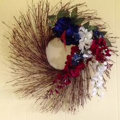 My red, white and blue wreath for patriotic holidays and the Olympics.