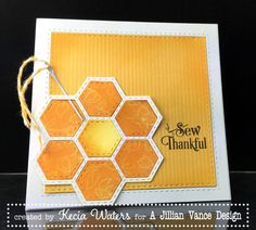 handmade card: Sew Thankful by LittleSeaOtter  ... hexagon flower ... luv the sunny colors and stitch lines embossed on the die cut ... Lillian Vance