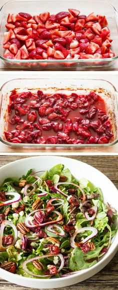 Roasted strawberry balsamic vinaigrette is a great way to use very ripe strawberries. It's a sweet, tangy dressing that will add tons of flavor to any salad