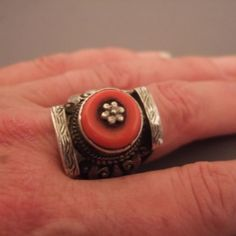 Tibet - Ring - Silver, coral - Worn on finger or hair by men & women