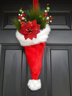 Santa hat door decoration.