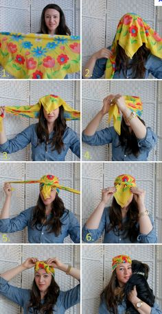 How to tie a turban with a silk scarf. I feel like this is yet another thing that looks lovely on Pinterest but would look ridiculous on me in real life.