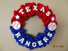 Texas Rangers Baseball Burlap Wreath  Texas by FortWorthFlair, $40.00