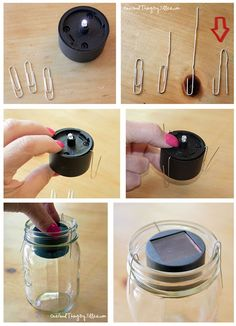 Mason Jar Crafts – How To Chalk Paint Your Mason Jars - Unfurth Solar Mason Jars, Blue Mason Jars, Painted Mason Jars, Mason Jar Lanterns, Mason Jar Lamp, Solar Light Crafts, Diy Solar, Mason Jar Projects, Mason Jar Crafts