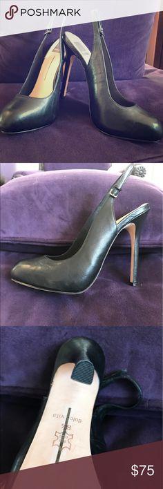 Dolce Vita black leather platform sling back pumps Brand New, never worn!  Beautiful black leather sling backs with 4.4 heel and 1.0 platform. Size 8.5.  Lovely shoe goes with everything! Dolce Vita Shoes Heels