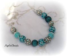 Polymer Clay Beads Necklace  Aqua shades by Ayeletbeads on Etsy, $60.00