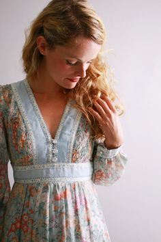1970s maxi dress / 70s smocked floral garden dress / Seeds To Sow / by coralvintage, $126.00
