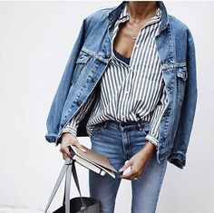 Denim on Denim #LOVE  Denim look with striped blouse and designer bag