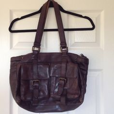 Halogen Soft Leather bag Perfectly worn leather, structured bag, with dual pockets on outside , great deep brown color Halogen Bags Shoulder Bags