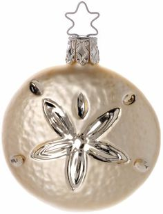"Ocean Sand dollar - incl. Legend Card. 3"" hand blown glass Christmas ornament, Inge Glas of Germany"