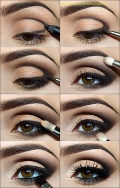 Grab a dark pencil and draw outline of where eyeshadow will go, following angle of lid. Use a small brush to smudge the line. Add black to the little brush and blend it into the black eyeliner. Run it gently along bottom eye line. Using a thicker brush, use grey to give contour to eye bone line. Use another brush to put some skin tone back into your eye. #6,7, 8 show adding contour with different colors, black and skin tone. Use liquid eye liner on bottom line. Curl lashes and add mascara.