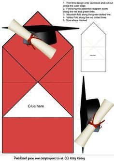 Graduation Cap and Scroll Pop Up Spring Card on Craftsuprint designed by Katy Kinsey - An easy to make pop up spring card to celebrate a graduation day - Now available for download!