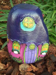 Purple and Pink Gnome Home Painted River Rock via Etsy