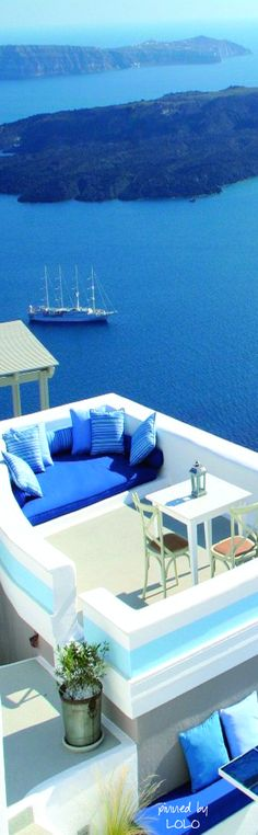 ღღ Chillout zone in Santorini, Greece Places Around The World, Oh The Places You'll Go, Places To Travel, Places To Visit, Around The Worlds, Travel Destinations, Mykonos, Dream Vacations, Vacation Spots