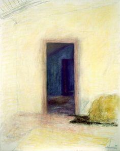 """Jacques Truphemus -  """" La porte de l' Atelier """" - 92 x 73cm. 1989 - Huile sur toile"""