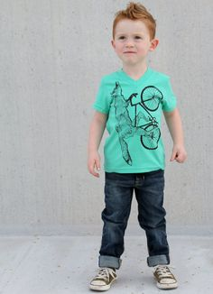 Fox on a BICYCLE - Mint Green Kids V - Neck - American Apparel