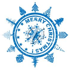 iCLIPART - Clip Art Illustration of a Blue Christmas Stamp with Trees and Snowflakes