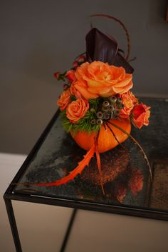 flower arrangement in a mini #pumpkin for #Thanksgiving