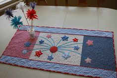 """Fireworks in the Kitchen! Great 4th of July table runner and even pointers on making the Martha Stewart """"fireworks"""" in the vase. Cute, cute, cute! Also, love this blog in general."""