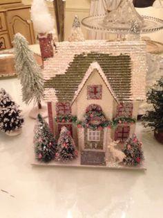Pinky's Christmas White Putz House Bottle Brush Lights Reindeer Garland New
