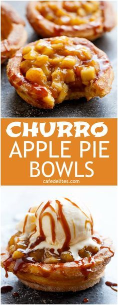 The ultimate pie! CHURRO Apple Pies: where TWO desserts become one! Apple pie filling is served in Churro bowls instead of the traditional pie pastry, and drizzled with an easy, homemade caramel sauce, to make the most incredible dessert! | http://cafedelites.com