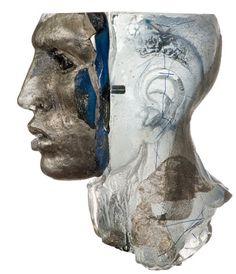 "Claes Uvesten ""head"" cast glass sculpture."