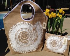 Mud Pie Beach Bag Set  Nautilus  Beach Bag by GebbiesEmbroidery, $25.95