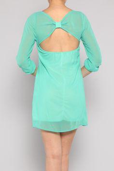 teal shift dress w/bow $43