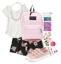 """""""school"""" by purplicious ❤ liked on Polyvore featuring Hollister Co., Sperry, JanSport, Vera Bradley, Betsey Johnson, L'Oréal Paris and Revlon"""