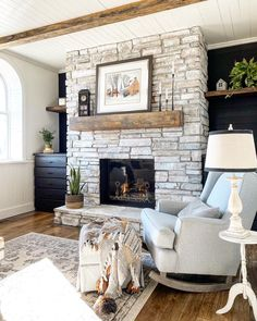 How to Whitewash a Stone Fireplace - Super Easy Project - Designs By Karan