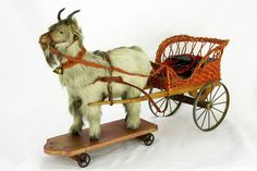Antique German Goat and Carriage Pull Toy c1900