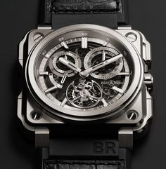 Introducing the Bell & Ross Chronograph Tourbillon Monopusher, a haute horlogerie limited edition of the extreme B&R watches (specs & price) Bell Ross, Stylish Watches, Luxury Watches For Men, Cool Watches, Unique Watches, Men's Watches, Fine Watches, Patek Philippe, Tag Heuer Monaco