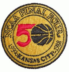 An 1988 NCAA Final Four logo patch from Kansas City, MO. The tournament included Duke, Kansas, Oklahoma, and Arizona all battling for the #NCAA championship.