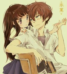 Hyouka Chitanda x Hotaro Manga Couples, Anime Couples Drawings, Relife Anime, Hyouka Chitanda, Brown Hair Green Eyes, Lolis Neko, Kyoto Animation, Cute Anime Coupes, Couple Cartoon