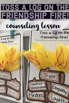 This elementary school counseling classroom guidance lesson introduces qualities of a supportive friendship! Students discuss their own ideas and then create a campfire craft to represent the qualities they value most in a friendship. Students go on a gal High School Counseling, Elementary School Counselor, School Social Work, Group Counseling, Counseling Activities, Elementary Schools, Primary Education, School School, High Schools