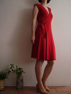 little red wrap dress free burda pattern