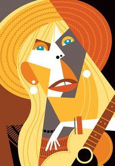 Abstract but the person is so identifiable. Great work Pablo. Joni Mitchell by Pablo Lobato, via Flickr