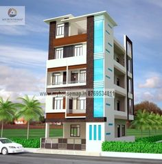 modern elevation design of residential buildings Building Front, Multi Story Building, 3 Storey House Design, Front Elevation Designs, Architecture Building Design, House Map, House Front, House Plans, Exterior