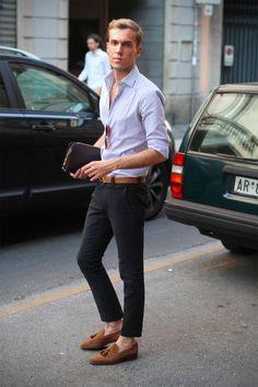 Barba Napoli shirt, Belfiore tussel loafers, Hermes belt, and  Louis Vuitton Baikal bag.