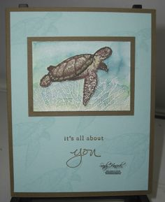 Carol's watercolor wash background over heat embossing: From Land to Sea, By the Tide, Endless Thanks, & more - all from Stampin' Up!