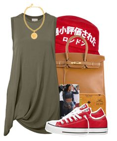 """army red"" by lovebrii-xo ❤ liked on Polyvore featuring Hermès, MCM, Witchery, Versace and Converse"