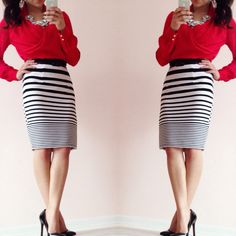 Black and white Striped skirt with red blouse! Follow @ ModestlyHot on instagram!!!