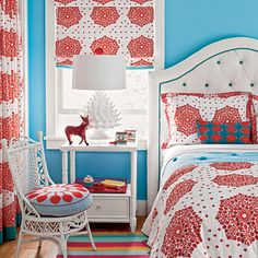 This bright turquoise-and-red space is more punchy than patriotic.