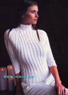 """Белый свитер-реглан со жгутами """"Снежный вихрь"""""""