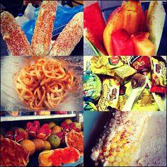 Elotes, raspados, churros. fruta con chile y limon, esquites, ducles de tamarindo <3